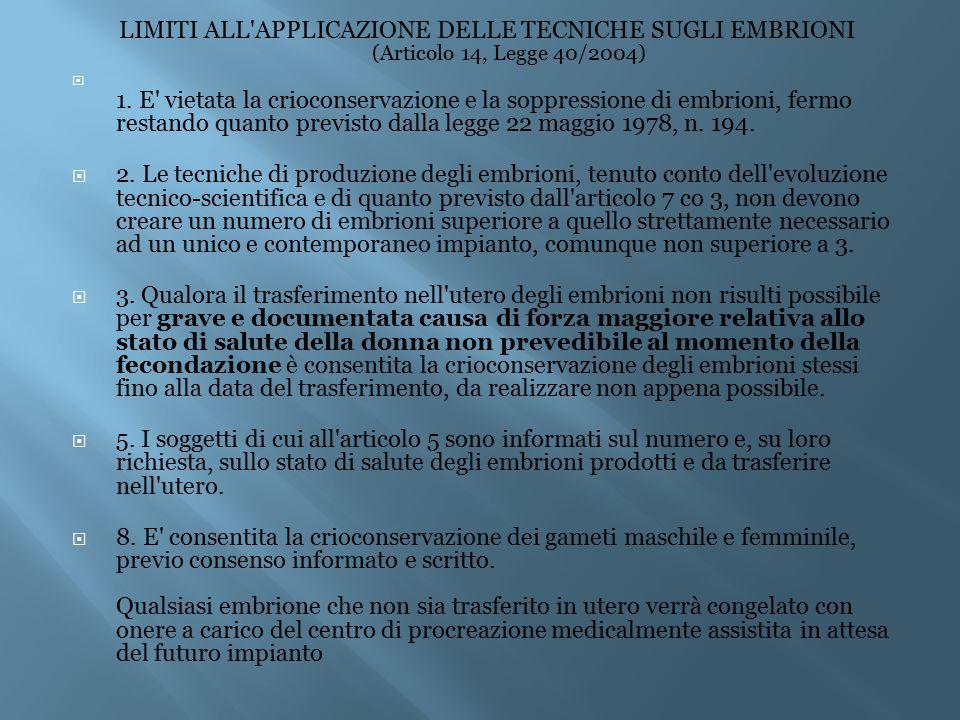 LIMITI ALL APPLICAZIONE DELLE TECNICHE SUGLI EMBRIONI (Articolo 14, Legge 40/2004)