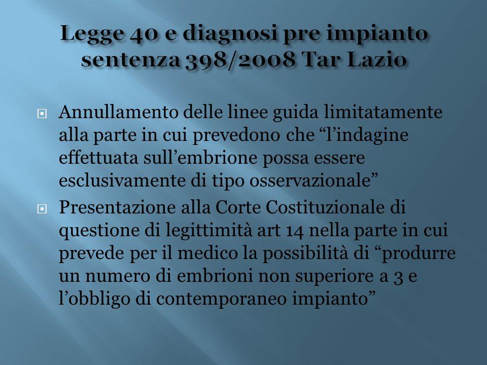 Legge 40 e diagnosi pre impianto sentenza 398/2008 Tar Lazio