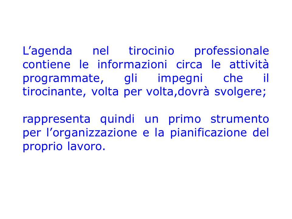 L'agenda nel tirocinio professionale contiene le informazioni circa le attività programmate, gli impegni che il tirocinante, volta per volta,dovrà svolgere;