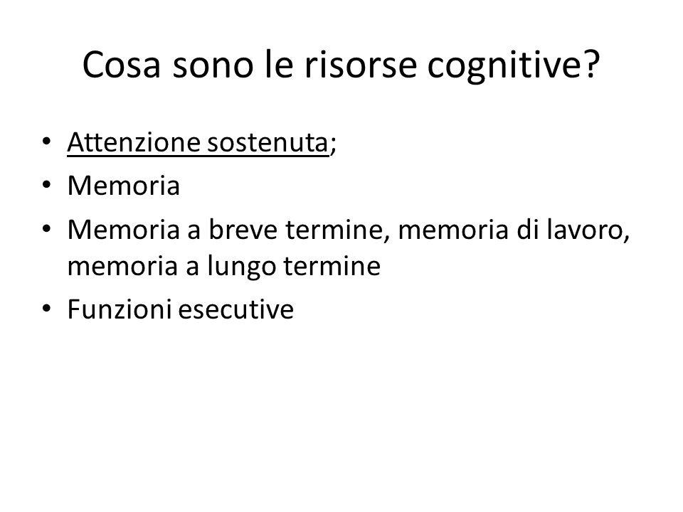 Cosa sono le risorse cognitive