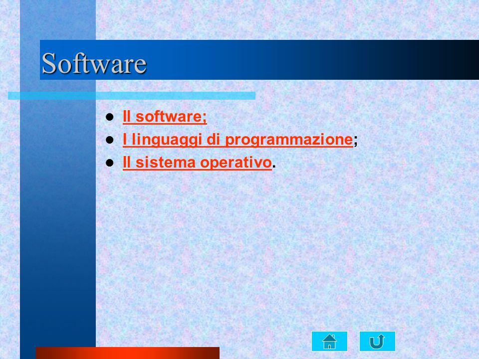 Software Il software; I linguaggi di programmazione;