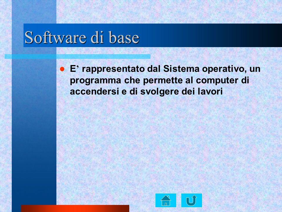 Software di base E' rappresentato dal Sistema operativo, un programma che permette al computer di accendersi e di svolgere dei lavori.