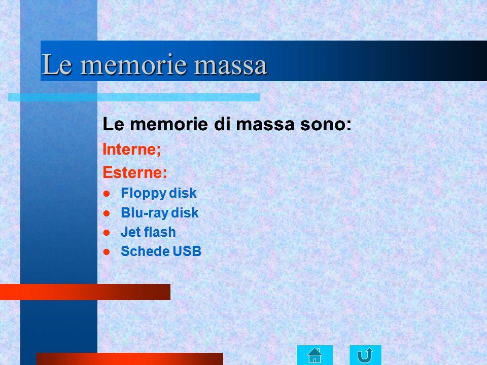 Le memorie massa Le memorie di massa sono: Le memorie di massa sono: