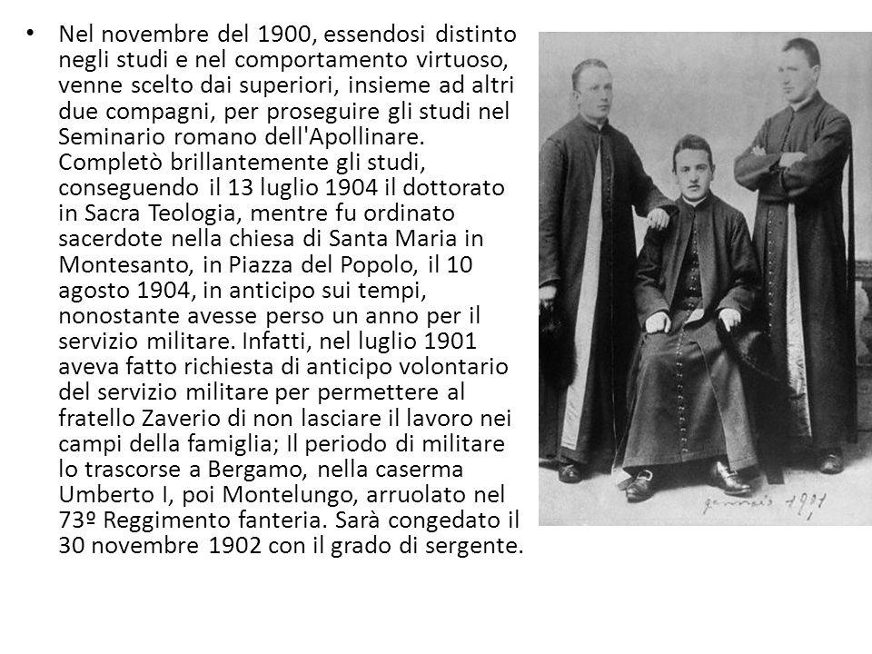 Nel novembre del 1900, essendosi distinto negli studi e nel comportamento virtuoso, venne scelto dai superiori, insieme ad altri due compagni, per proseguire gli studi nel Seminario romano dell Apollinare.
