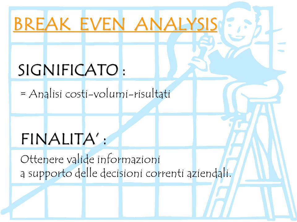 BREAK EVEN ANALYSIS SIGNIFICATO : FINALITA' :