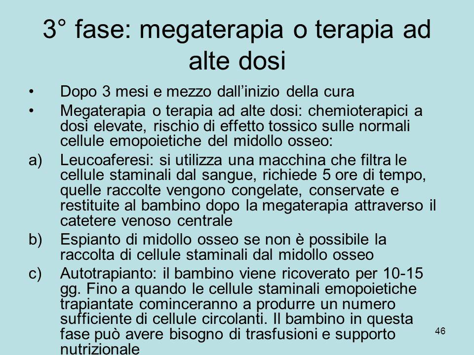 3° fase: megaterapia o terapia ad alte dosi