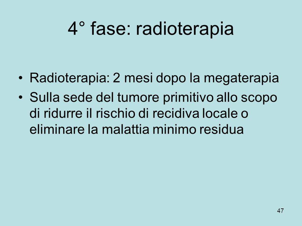 4° fase: radioterapia Radioterapia: 2 mesi dopo la megaterapia