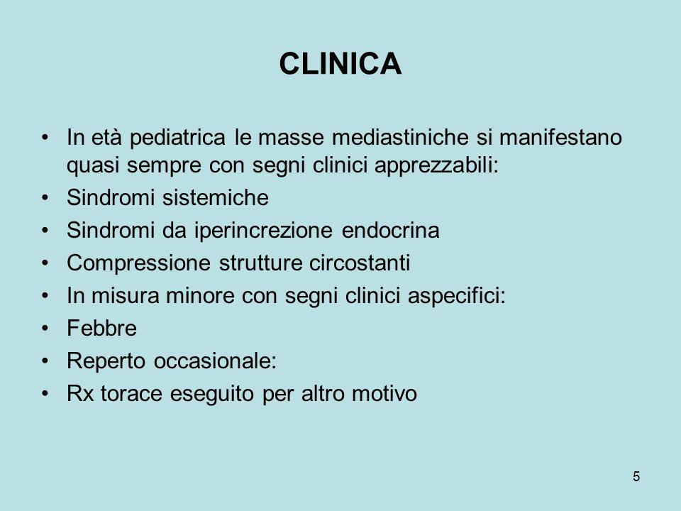 CLINICA In età pediatrica le masse mediastiniche si manifestano quasi sempre con segni clinici apprezzabili: