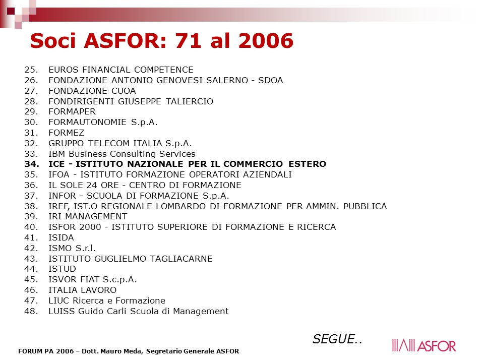 Soci ASFOR: 71 al 2006 SEGUE.. EUROS FINANCIAL COMPETENCE