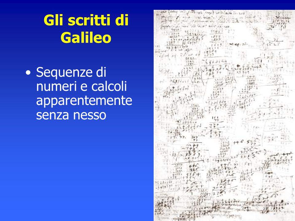 Gli scritti di Galileo Sequenze di numeri e calcoli apparentemente senza nesso