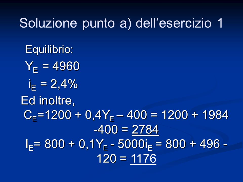 Soluzione punto a) dell'esercizio 1