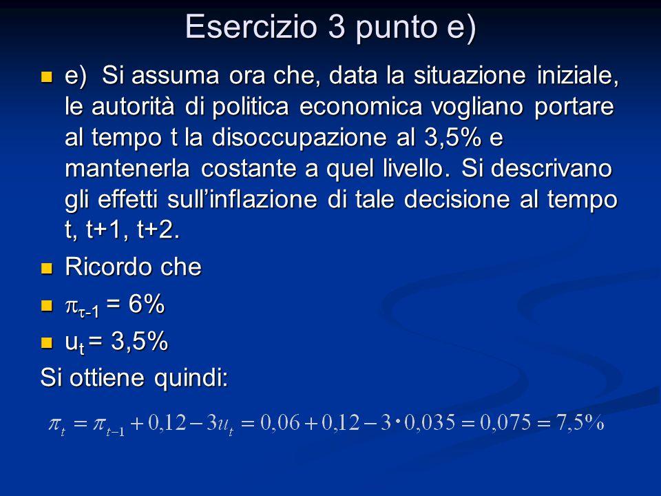Esercizio 3 punto e)