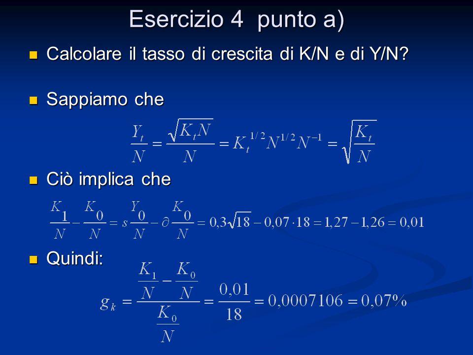 Esercizio 4 punto a) Calcolare il tasso di crescita di K/N e di Y/N