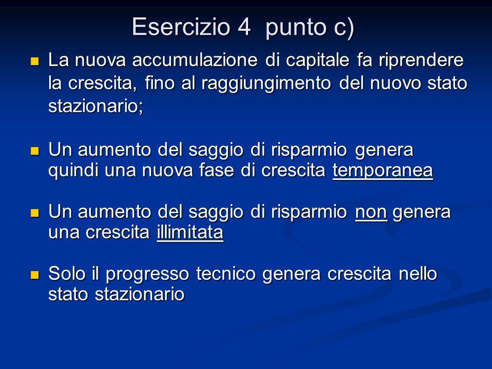 Esercizio 4 punto c) La nuova accumulazione di capitale fa riprendere la crescita, fino al raggiungimento del nuovo stato stazionario;