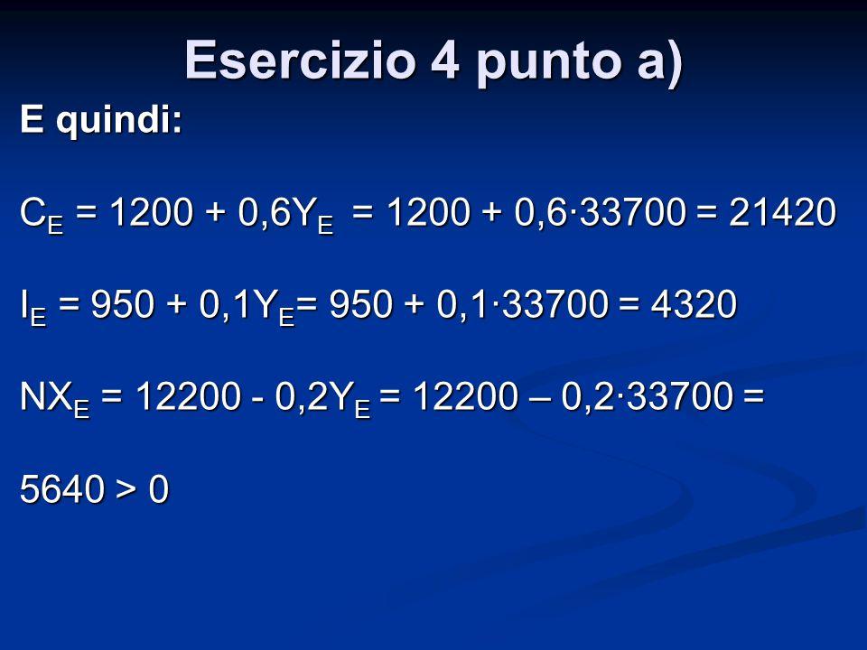Esercizio 4 punto a) E quindi: