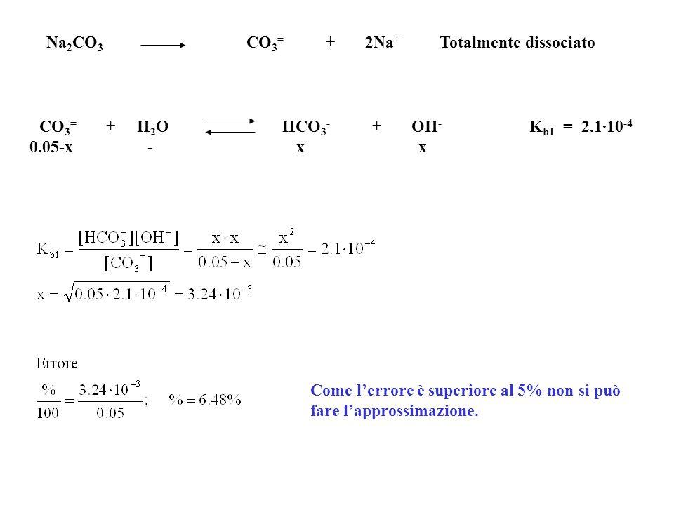 Na2CO3 CO3= + 2Na+ Totalmente dissociato
