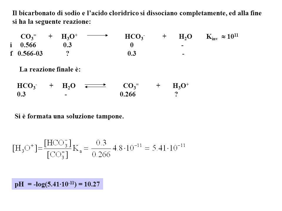 Il bicarbonato di sodio e l'acido cloridrico si dissociano completamente, ed alla fine si ha la seguente reazione: