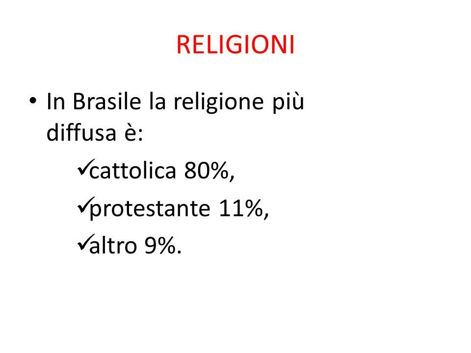 RELIGIONI In Brasile la religione più diffusa è: cattolica 80%,
