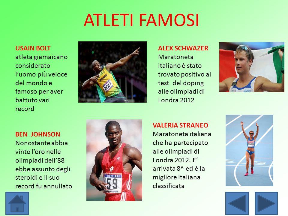 ATLETI FAMOSI USAIN BOLT atleta giamaicano considerato l'uomo più veloce del mondo e famoso per aver battuto vari record.