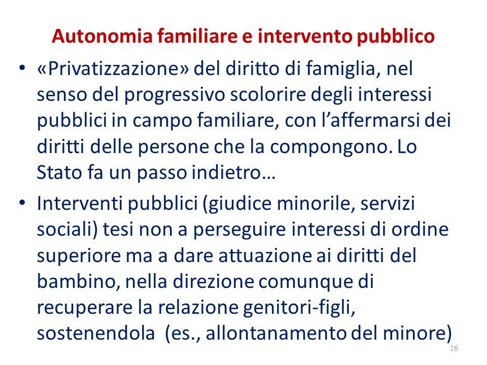 Autonomia familiare e intervento pubblico