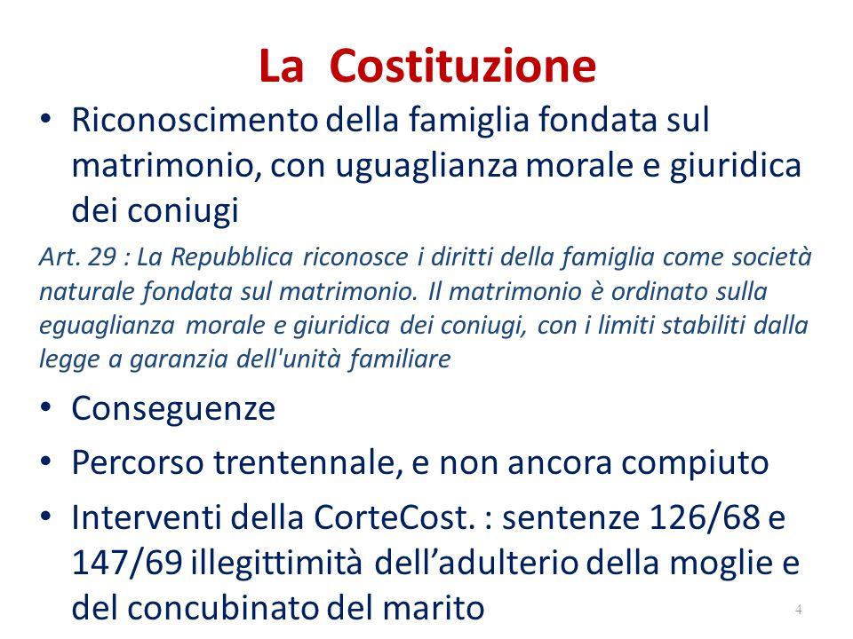 La Costituzione Riconoscimento della famiglia fondata sul matrimonio, con uguaglianza morale e giuridica dei coniugi.