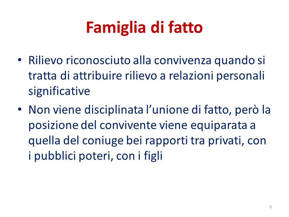 Famiglia di fatto Rilievo riconosciuto alla convivenza quando si tratta di attribuire rilievo a relazioni personali significative.