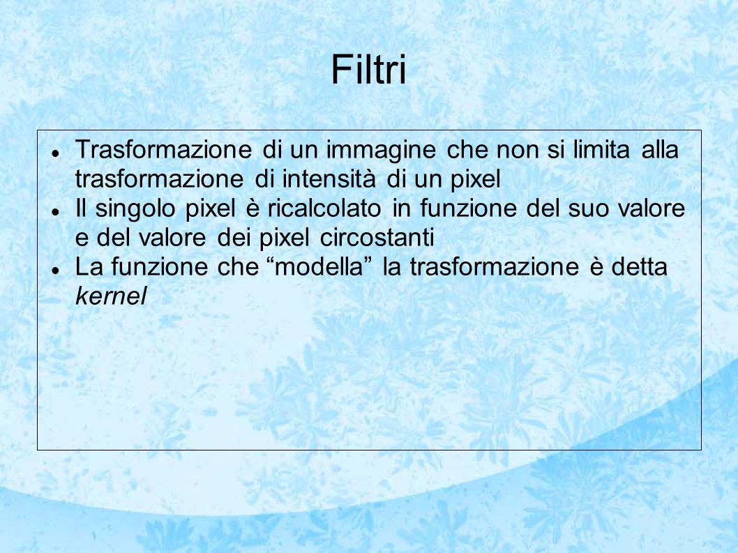 Filtri Trasformazione di un immagine che non si limita alla trasformazione di intensità di un pixel.