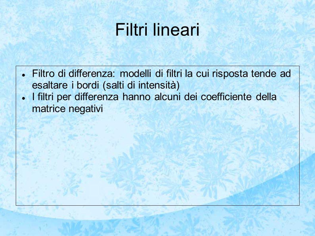 Filtri lineari Filtro di differenza: modelli di filtri la cui risposta tende ad esaltare i bordi (salti di intensità)
