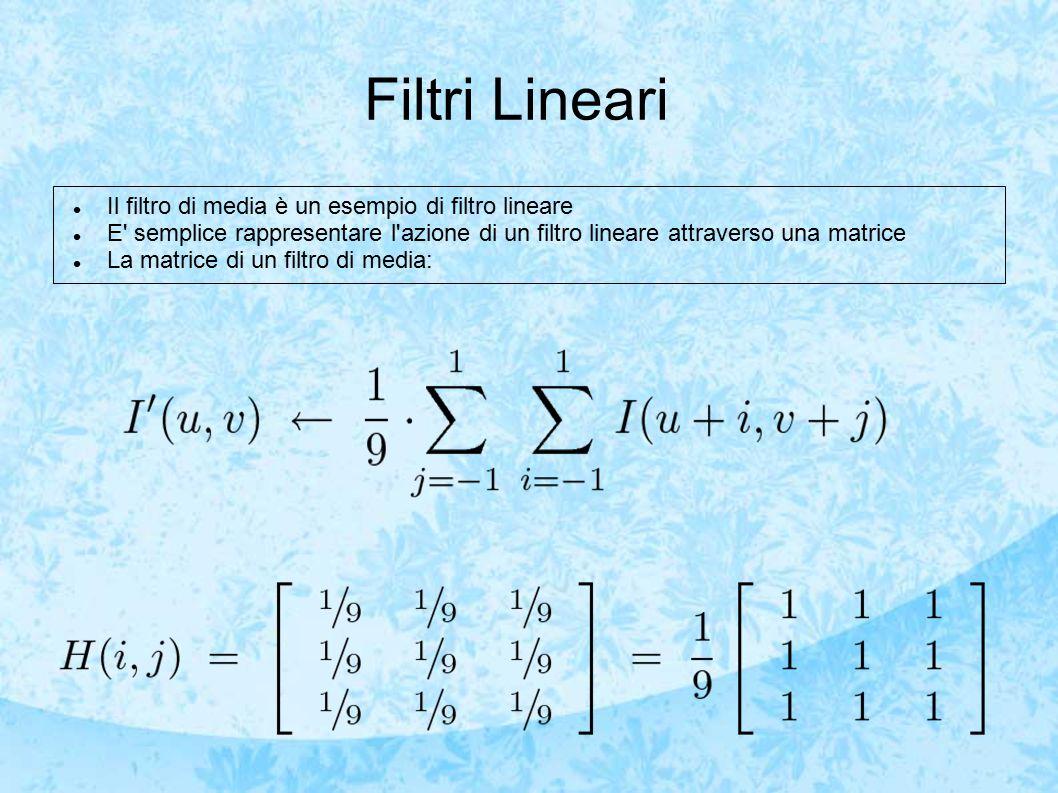 Filtri Lineari Il filtro di media è un esempio di filtro lineare