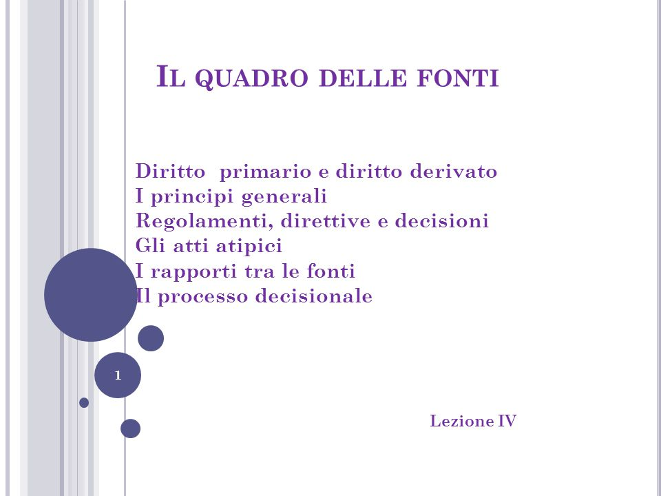 Il quadro delle fonti Diritto primario e diritto derivato