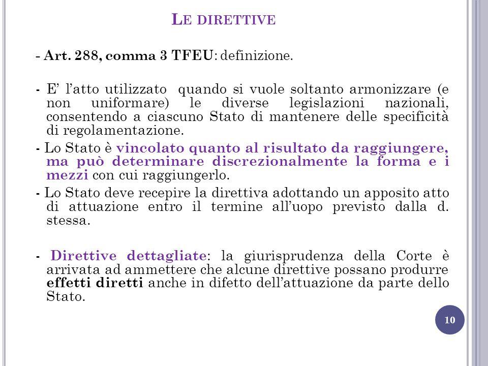 Le direttive - Art. 288, comma 3 TFEU: definizione.