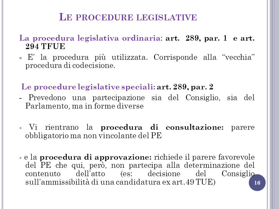 Le procedure legislative