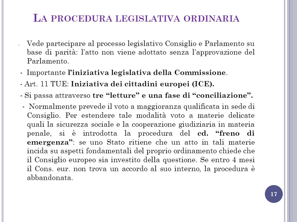 La procedura legislativa ordinaria