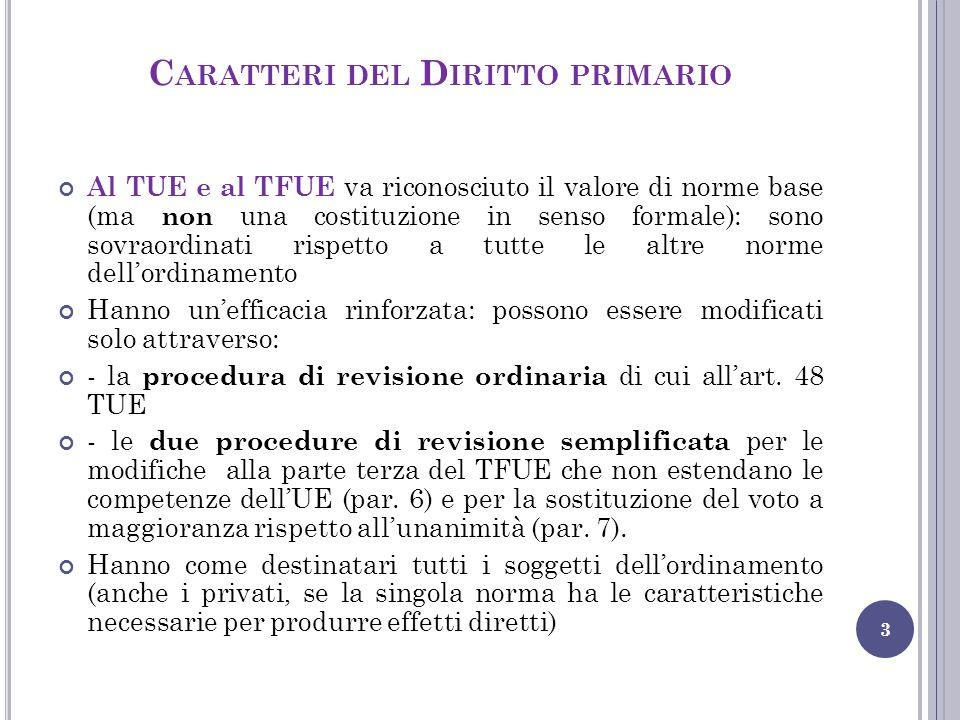 Caratteri del Diritto primario