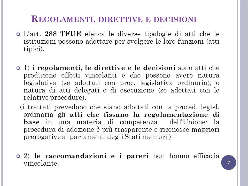 Regolamenti, direttive e decisioni