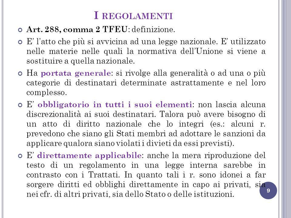 I regolamenti Art. 288, comma 2 TFEU: definizione.