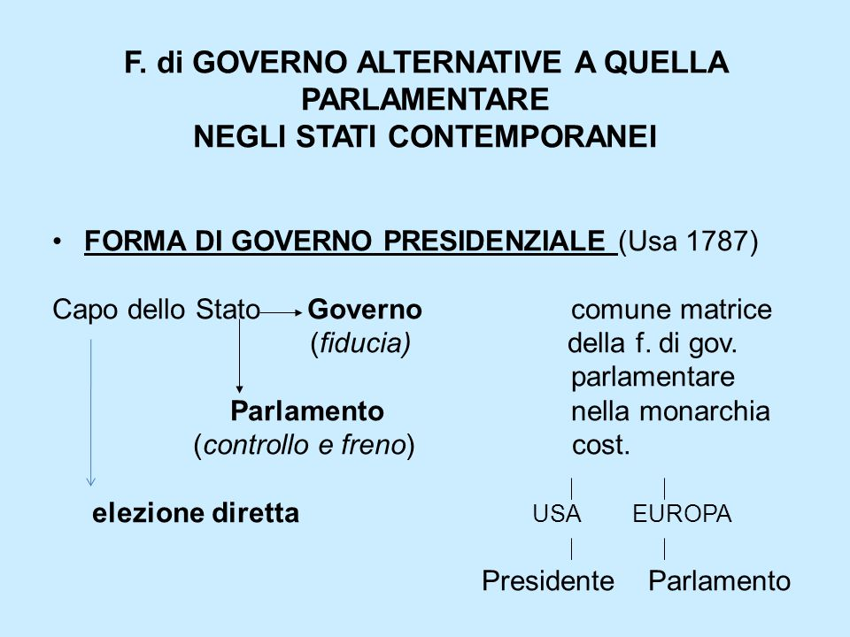 F. di GOVERNO ALTERNATIVE A QUELLA PARLAMENTARE NEGLI STATI CONTEMPORANEI