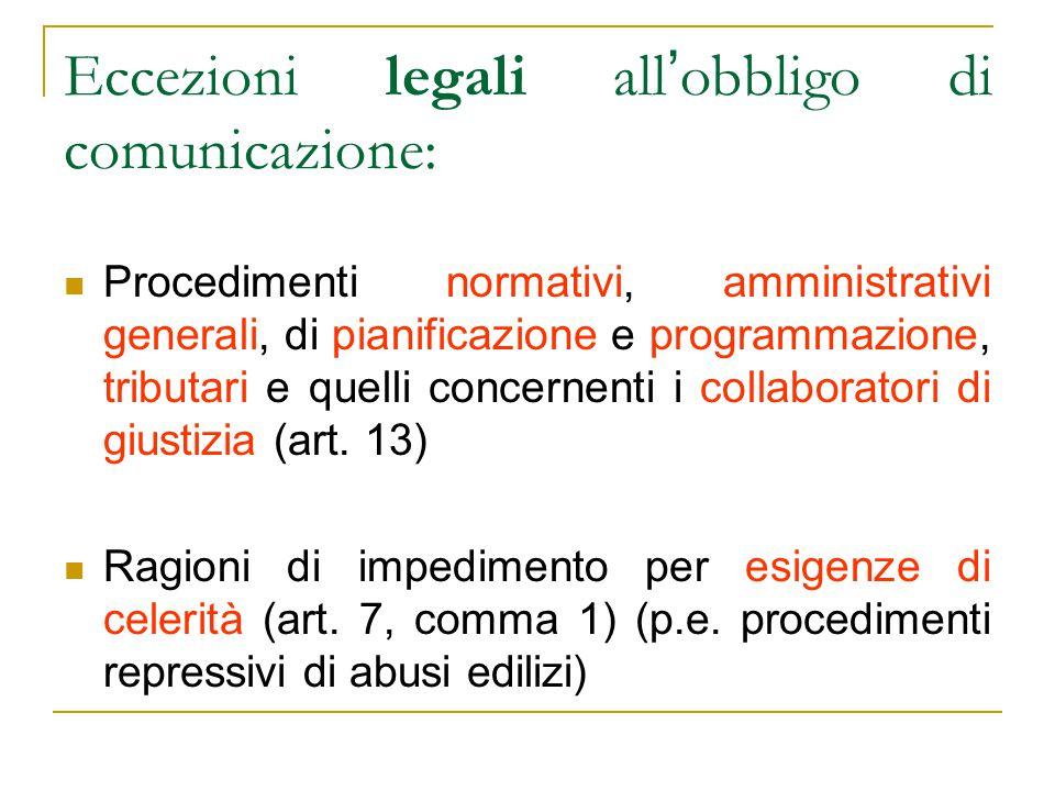 Eccezioni legali all'obbligo di comunicazione: