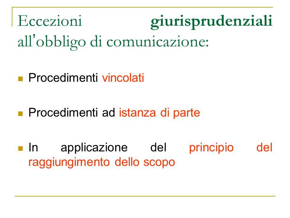 Eccezioni giurisprudenziali all'obbligo di comunicazione: