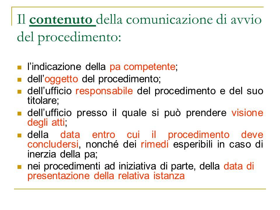 Il contenuto della comunicazione di avvio del procedimento: