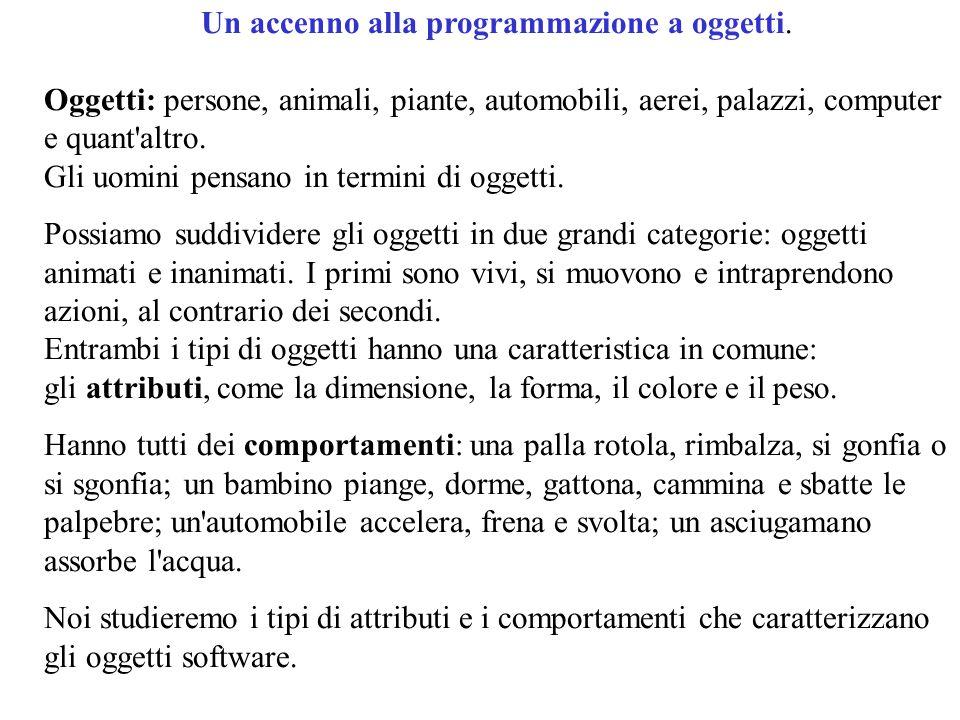 Un accenno alla programmazione a oggetti.