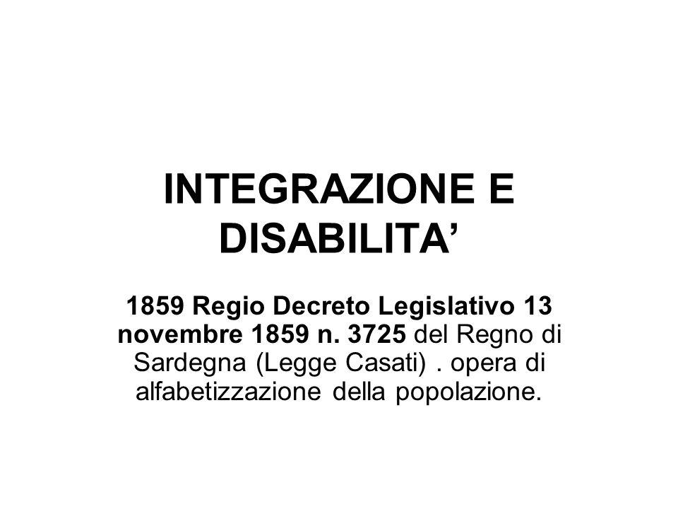 INTEGRAZIONE E DISABILITA'