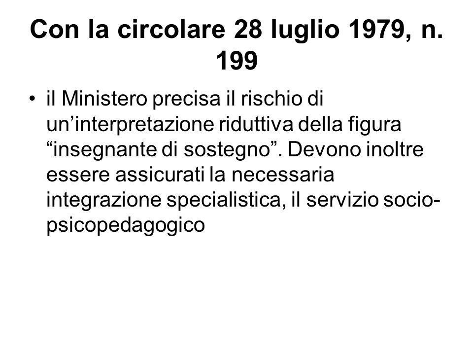 Con la circolare 28 luglio 1979, n. 199