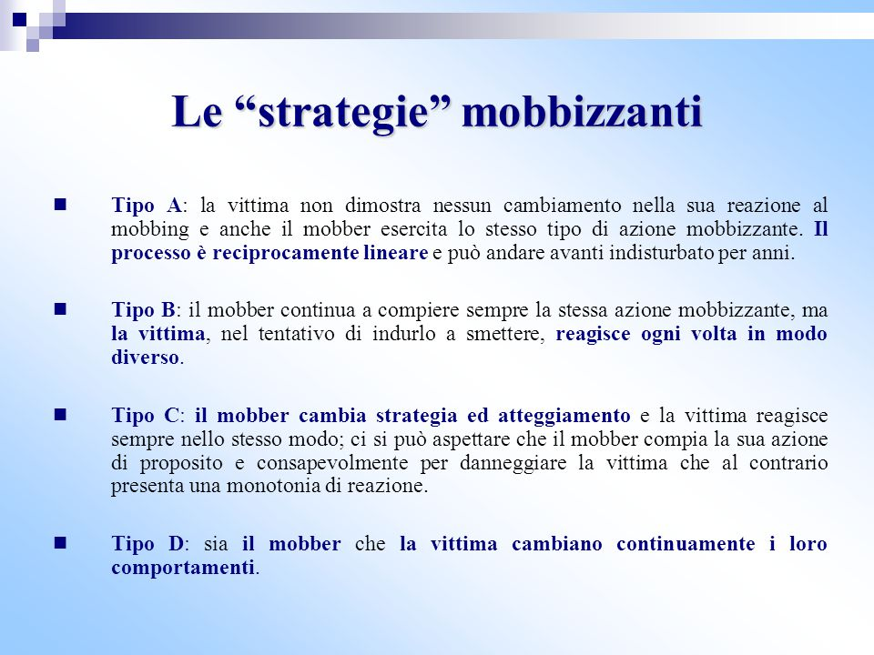 Le strategie mobbizzanti