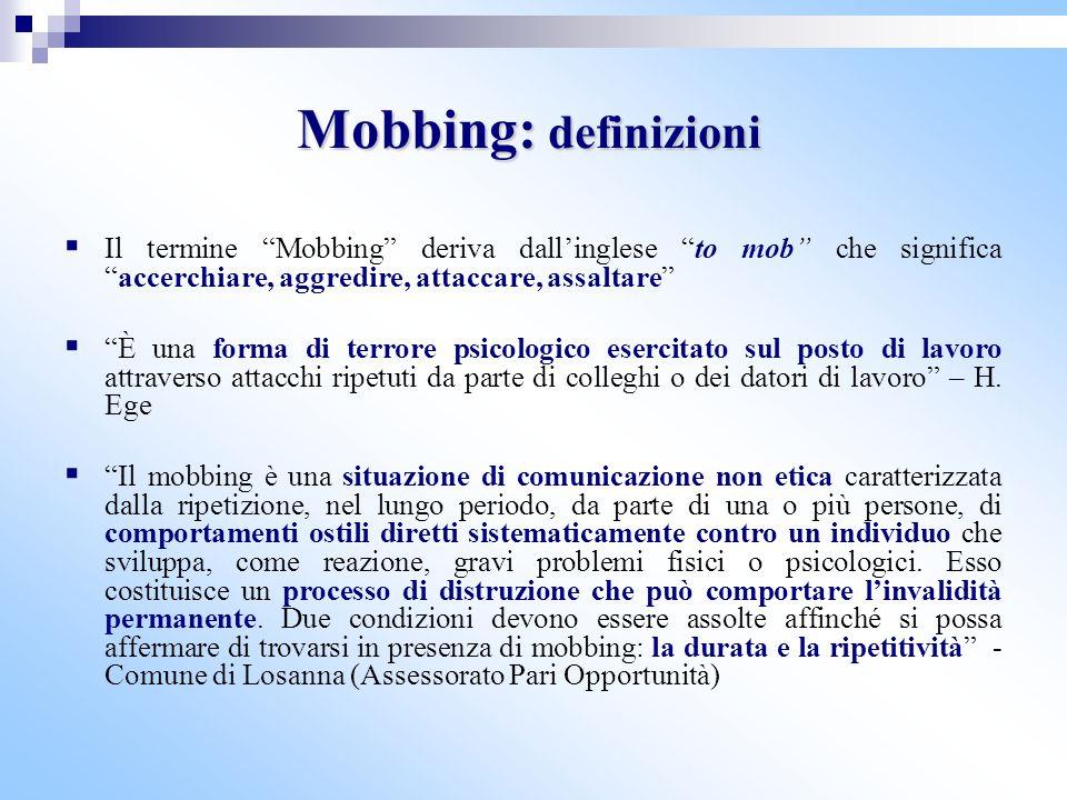 Mobbing: definizioni Il termine Mobbing deriva dall'inglese to mob che significa accerchiare, aggredire, attaccare, assaltare