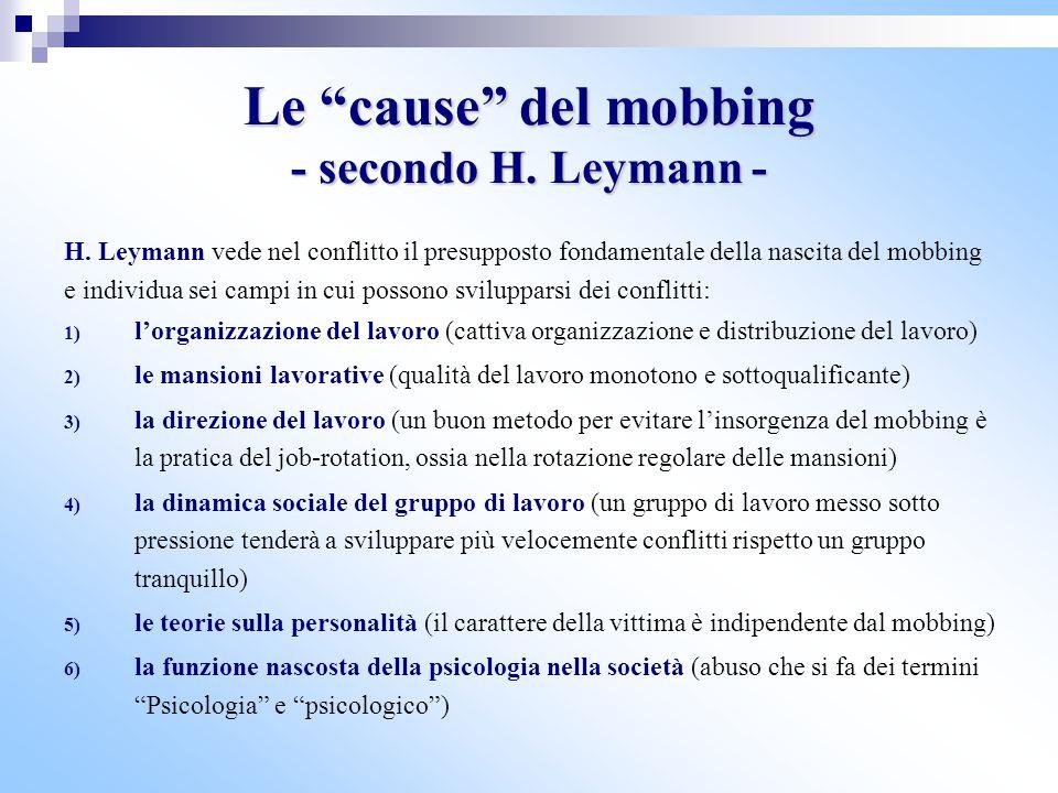 Le cause del mobbing - secondo H. Leymann -