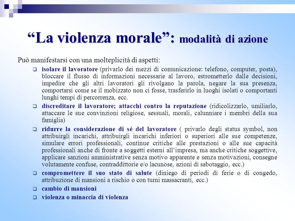 La violenza morale : modalità di azione