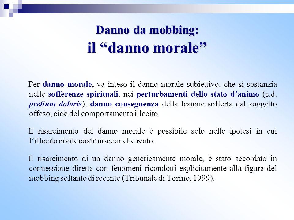 Danno da mobbing: il danno morale