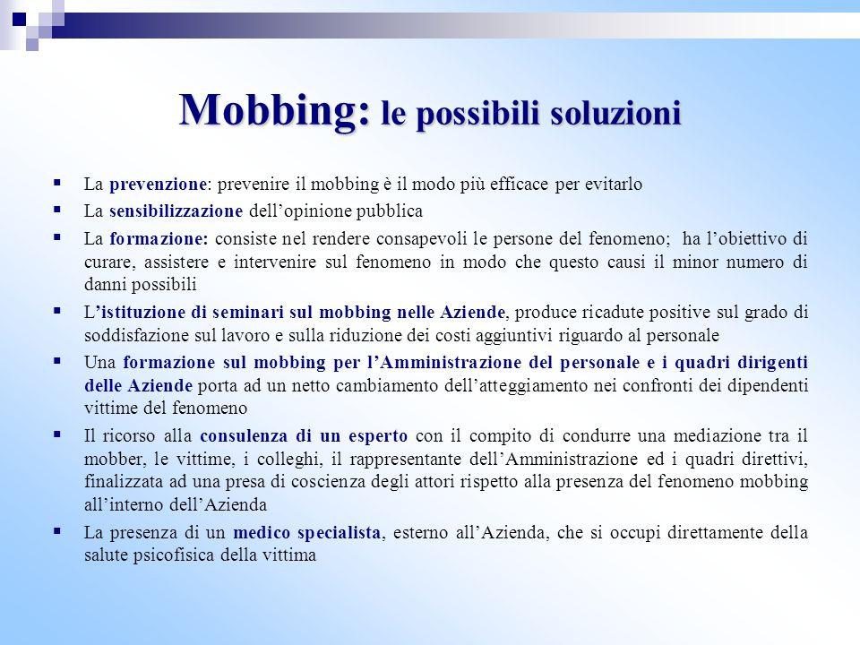 Mobbing: le possibili soluzioni