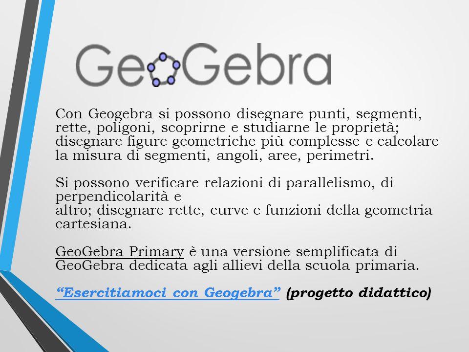 Con Geogebra si possono disegnare punti, segmenti, rette, poligoni, scoprirne e studiarne le proprietà;